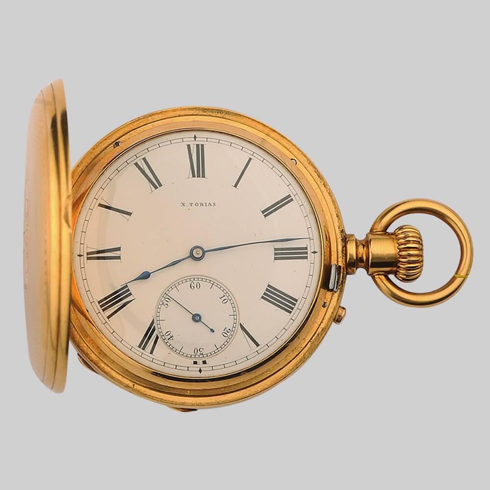 6fc33c00 Золотые 3-х крышечные часы с механизмом фирмы Tobias